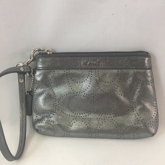 Coach Handbags - Coach Perforated C Silver Metallic Glam Wristlet